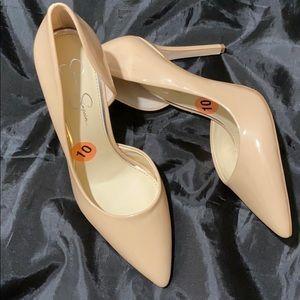 Tan/beige narrow heels